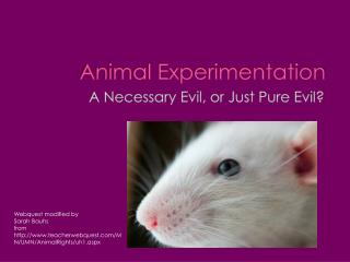 the necessity of animal experimentation The medical necessity of animal research often taking the place of human experimentation the development of transplant surgery, especially.
