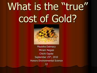 "What is the ""true"" cost of Gold?"