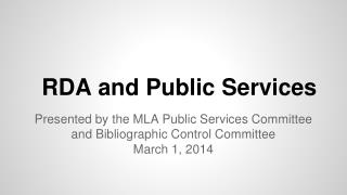 RDA and Public Services