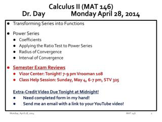 Calculus II (MAT 146) Dr. Day		Monday April 28, 2014