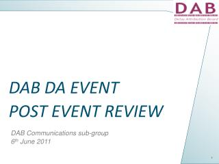 DAB DA EVENT  POST EVENT REVIEW