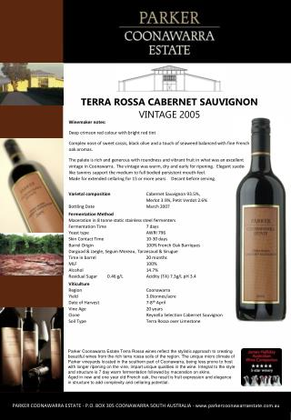 Winemaker notes: Deep crimson red colour with bright red tint