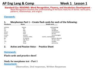 AP  Eng Lang & Comp                                Week  1   Lesson 1