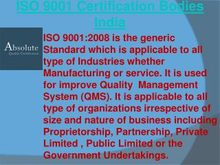 ISO 9001 certification bodies India