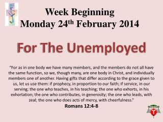 Week Beginning Monday 24 th February 2014