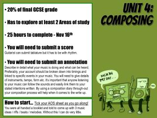 20% of final GCSE grade Has to explore at least 2 Areas of study 25 hours to complete - Nov 16 th