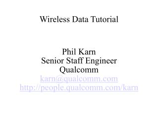 Wireless Data Tutorial