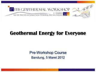 Geothermal Energy for Everyone