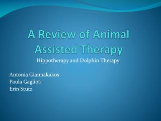 A Review of Animal Assisted Therapy