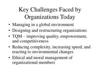 Key Challenges Faced by Organizations Today