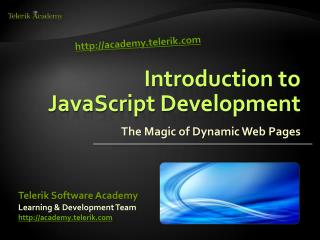 Introduction to  JavaScript Development