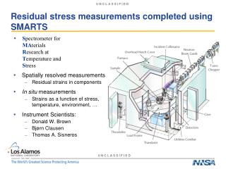 Residual stress measurements completed using SMARTS