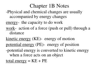 Chapter 1B Notes