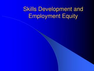Skills Development and Employment Equity
