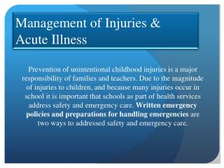 Management  of  Injuries & Acute Illness