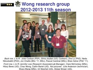Wong research group 2012-2013 11th season