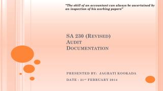 SA 230 (Revised) Audit  Documentation