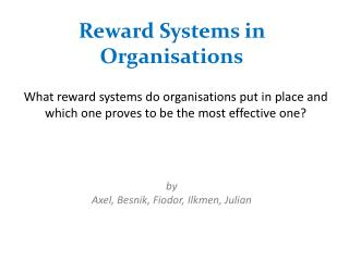 Reward Systems in Organisations