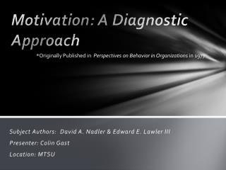 Motivation: A Diagnostic Approach