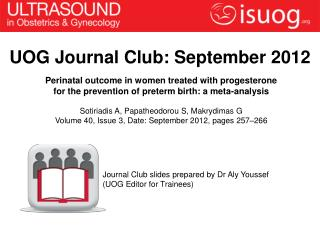 UOG Journal Club: September 2012