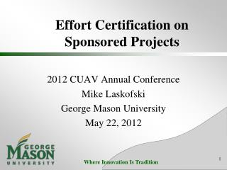 Effort Certification on Sponsored Projects