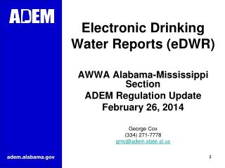 Electronic Drinking Water Reports (eDWR)