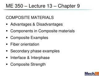 ME 350 – Lecture  13  – Chapter 9