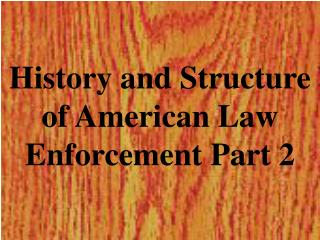 History and Structure of American Law Enforcement Part 2