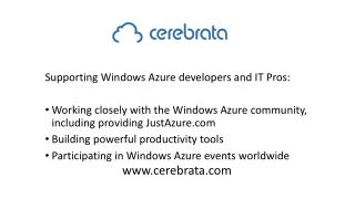 Supporting Windows Azure developers and IT Pros: