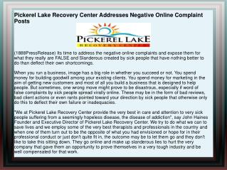 Pickerel Lake Recovery Center Addresses Negative Online Comp