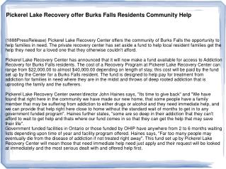 Pickerel Lake Recovery offer Burks Falls Residents Community
