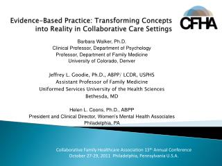 Evidence-Based Practice: Transforming Concepts into Reality in Collaborative Care Settings