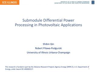 Submodule  Differential Power Processing in Photovoltaic Applications