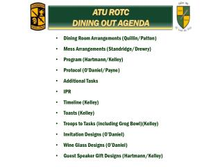 ATU ROTC DINING OUT AGENDA