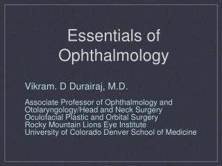 Essentials of Ophthalmology