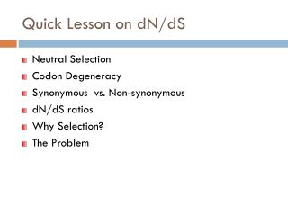 Quick Lesson on dN/dS