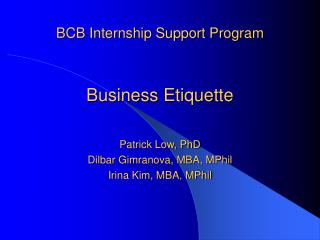 BCB Internship Support Program Business Etiquette