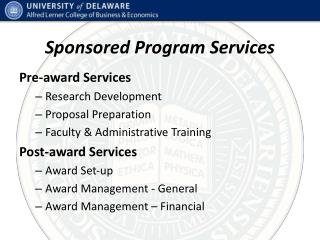 Sponsored Program Services
