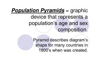 Population Pyramids  graphic device that represents a population s age and sex composition.