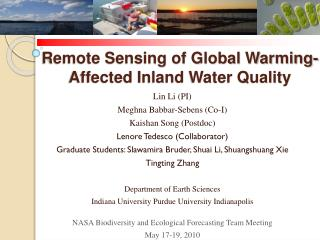 Remote Sensing of Global Warming-Affected Inland Water Quality