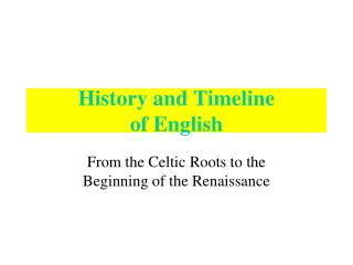 History and Timeline  of English