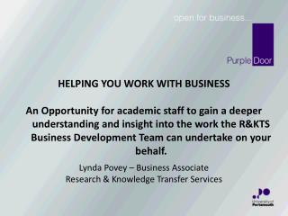 Lynda Povey – Business Associate Research & Knowledge Transfer Services