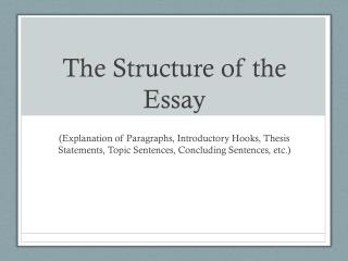 The Structure of the Essay