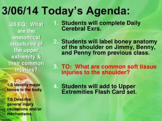 3/06/14 Today's Agenda:
