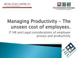 Managing Productivity – The unseen cost of employees.