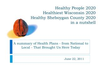 Healthy People 2020  Healthiest Wisconsin 2020  Healthy Sheboygan County 2020 in a nutshell