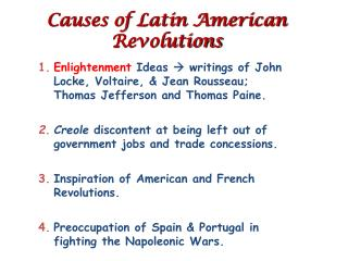 Causes of Latin American Revolutions