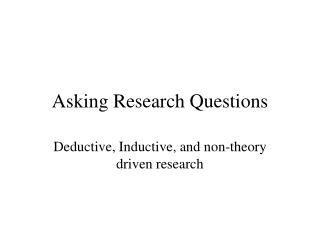 Asking Research Questions