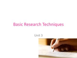 Basic Research Techniques