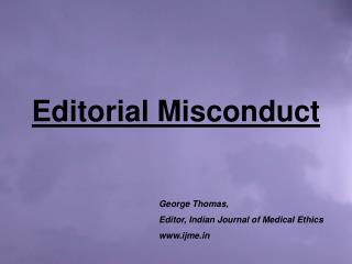 Editorial Misconduct